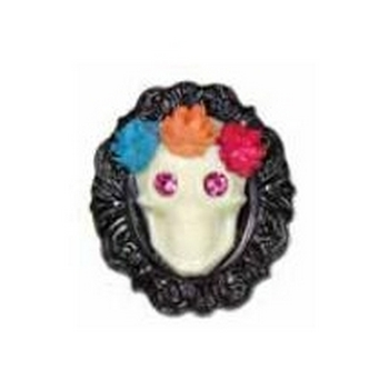 Tarina Tarantino - Sugar Skulls - Swarovski Crystal Eyed Flowered Skull Cameo Stretch Ring - Ivory on Black
