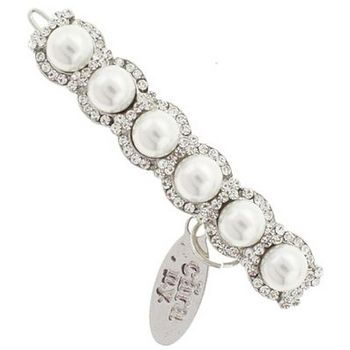 Cara - Crystal Ringed Pearl Clip - White Pearl & White Diamond (1)