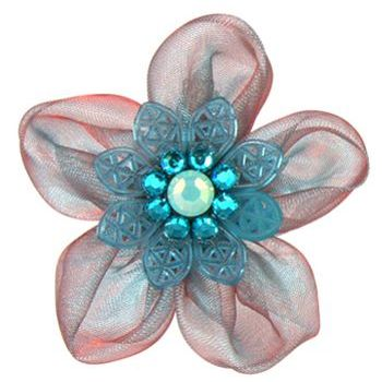 Tarina Tarantino - Electric Butterfly Organza Flower Ring - Turquoise