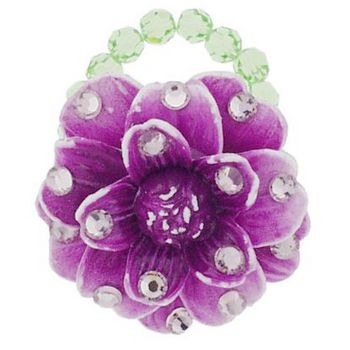 Tarina Tarantino - Small Vintage Resin Flower Ring - Purple
