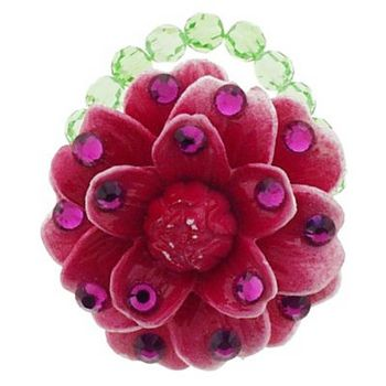 Tarina Tarantino - Small Vintage Resin Flower Ring - Red