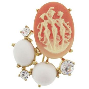 Alex and Ani - Vintage Inspired Cameo Brooch w/Stones & Crystals - Rose (1)