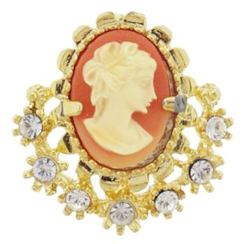 Alex and Ani - Rose Cameo w/ Crystals Brooch in Gold Metal (1)