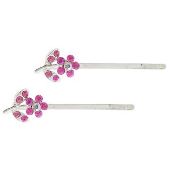 HB HairJewels - Crystal flower hairpins with stem - Pink (2)