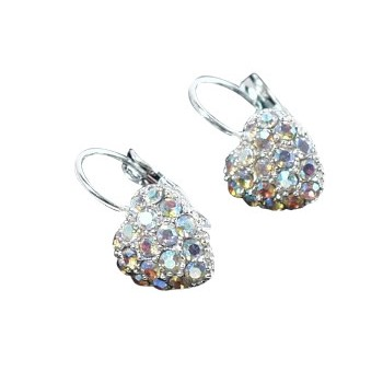 HB HairJewels - Austrian Crystal Heart Earrings - Silver AB