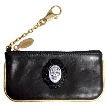 Tarina Tarantino - City Girl L.A. Leather Zipped Clutch on Key Chain with Skull Cameo - Black