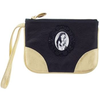 Tarina Tarantino - City Girl L.A. Leather Zipped Clutch with Cameo - Black