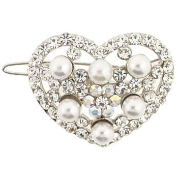 Karen Marie - Bridal Collection - Heart Mini Migali Clip - Pearls & Crystals