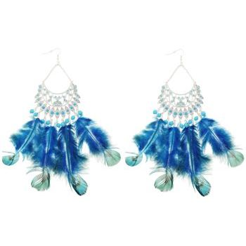 SOHO BEAT - Navajo Couture - Indian Princess Feather Chandelier Earrings - Turquoise