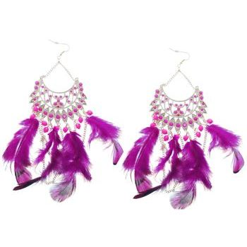SOHO BEAT - Navajo Couture - Indian Princess Feather Chandelier Earrings - Magenta