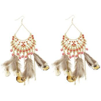 SOHO BEAT - Navajo Couture - Indian Princess Feather Chandelier Earrings - Coral