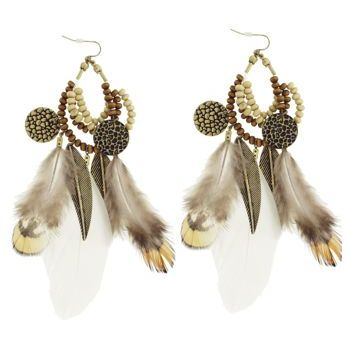 SOHO BEAT - Navajo Couture - Shaman Spirit Feather and Charm Earrings - Natural