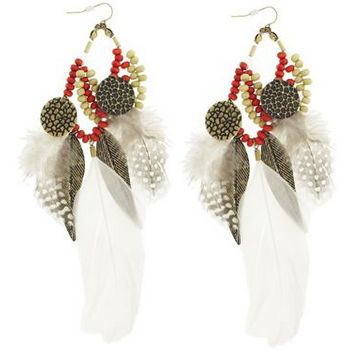 SOHO BEAT - Navajo Couture - Shaman Spirit Feather and Charm Earrings - Fire
