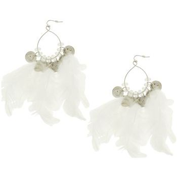 SOHO BEAT - Navajo Couture - Peacekeeper Feather and Charm Earrings - White
