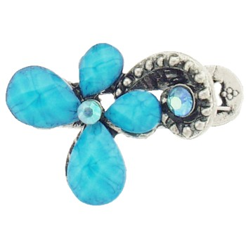 SOHO BEAT - French Fashionista - Moonstone and Crystal Flowering Claw Clip - Tantalizing Turquoise (1)