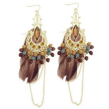 SOHO BEAT - Gypsy Love - Feather, Bead, and Gemstone Chandelier Earrings - Chocolate