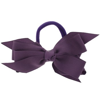 SOHO BEAT - School-Girl Chic Collection - Grosgrain Ribbon Bow Ponytail Holder - Exotic Orchid Purple