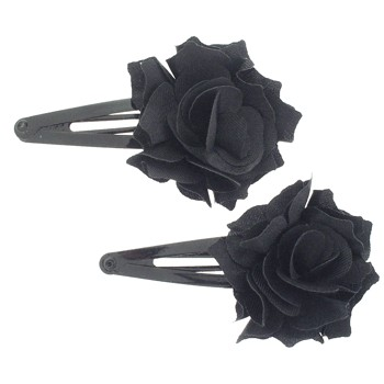 SOHO BEAT - School-Girl Chic Collection - Satin Flowering Sleeper Clips - Black Dahlia