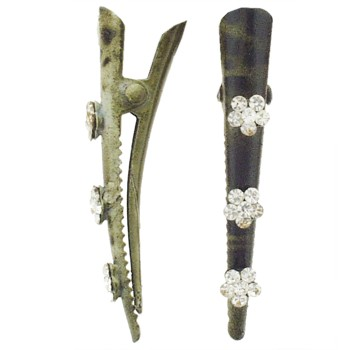 SOHO BEAT - Wild About Town - Crystal Daisy Mini Condor Clips (Set of 2) - Alligator Green