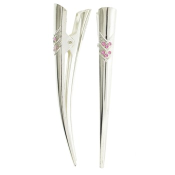 SOHO BEAT - Boudoir Chic - Crystal Condor Clips (Set of 2) - Pink Sapphire