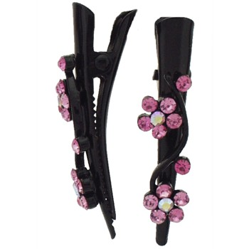 SOHO BEAT - French Fashionista - Crystal Double Daisy Mini-Condor Clips (Set of 2) - Peachy Pink Sapphire