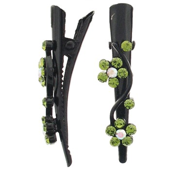 SOHO BEAT - French Fashionista - Crystal Double Daisy Mini-Condor Clips (Set of 2) - Gorgeous Green Peridot