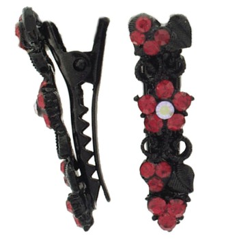 SOHO BEAT - Boudoir Chic - Blossoming Daisy on the Vine Mini-Condor Clips (Set of 2) - Radiant Red Ruby