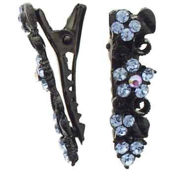 SOHO BEAT - Boudoir Chic - Blossoming Daisy on the Vine Mini-Condor Clips (Set of 2) - Bewitching Blue Sapphire