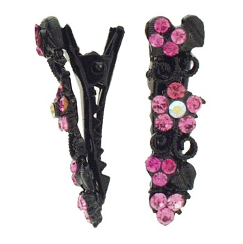 SOHO BEAT - Boudoir Chic - Blossoming Daisy on the Vine Mini-Condor Clips (Set of 2) - Pinch Me Pink Sapphire