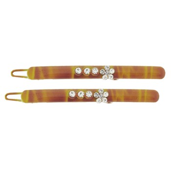 SOHO BEAT - Navajo Couture - TigerLily Queen - Navajo Crystal Barrettes (Set of 2) - Golden Sunset