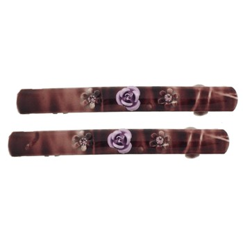 SOHO BEAT - Navajo Couture - TigerLily Queen - Flowering Navajo Barrettes (Set of 2) - Mother Nature Earthy Brown