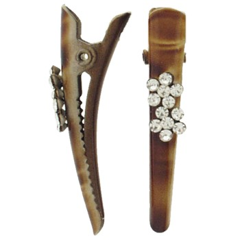 SOHO BEAT - Navajo Couture - TigerLily Queen - Crystal Daisies Mini-Condor Clips (Set of 2) - Tanned Leather Saddle