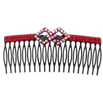 SOHO BEAT - Crystal Avenue - Crystal Double Rhombus Comb - Garnet