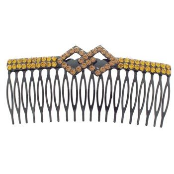 SOHO BEAT - Crystal Avenue - Crystal Double Rhombus Comb - Golden Topaz