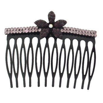 SOHO BEAT - Crystal Avenue - Tropical Crystal Flower Comb - Violet