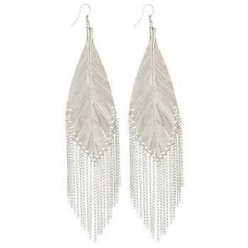 SOHO BEAT - Spanish Soiree - Modern Metallic Leaf Earrings - Silver