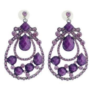 Karen Marie - Crystal Masquerade Earrings - Amethyst