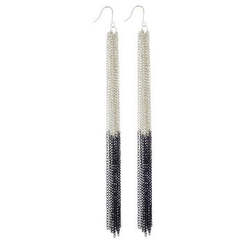 SOHO BEAT - Spanish Soiree - Ultra Long Mail Armour Earrings - Silver