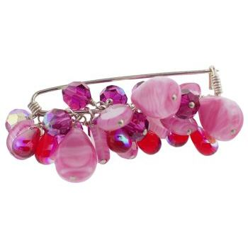 Rachel Abroms - Jeweled Safety Pin - Swarovski Crystals & Beads - Pink (1)