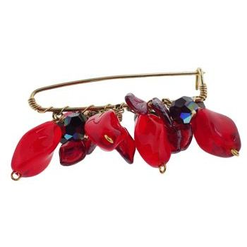 Rachel Abroms - Jeweled Safety Pin - Swarovski Crystals & Stone - Red & Red AB (1)