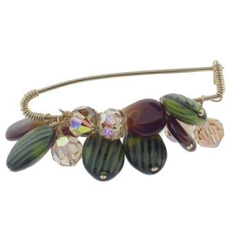 Rachel Abroms - Jeweled Safety Pin - Swarovski Crystals & Stones - Bronze & Green (1)