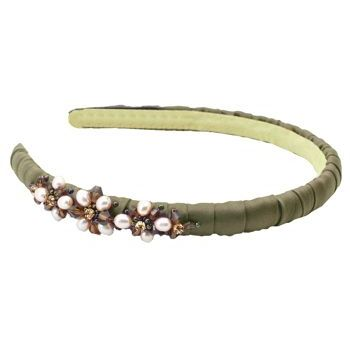 Jane Tran - Silk Wrapped Headband w/Faceted Beads - Chocolate (1)