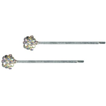 HB HairJewels - Austrian Crystal Chrysanthemum Hairpins - White AB/Silver (2)