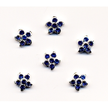 HB HairJewels - Austrian Crystal Flower Magnets - Sapphire (set of 6)