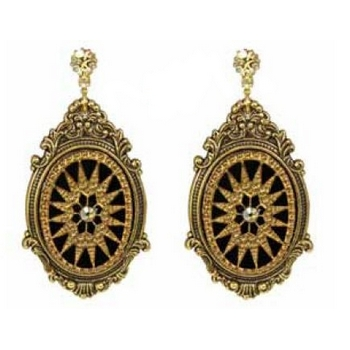 Tarina Tarantino - Gotham City - Etched Glass Starburst Cameo Earrings with Swarovski Crystal Post - Gold