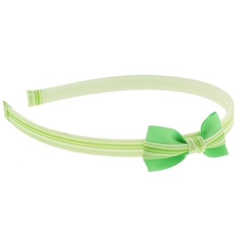 HB HairJewels - Lucy Collection - Skinny Stripe Headband w/Bow - Lime (1)