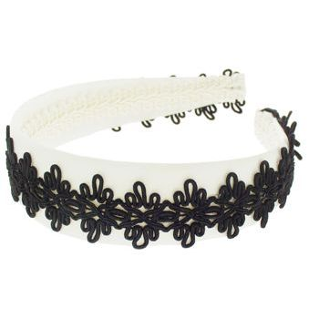 Susan Daniels - Headband - White Satin w/Black Braid (1)