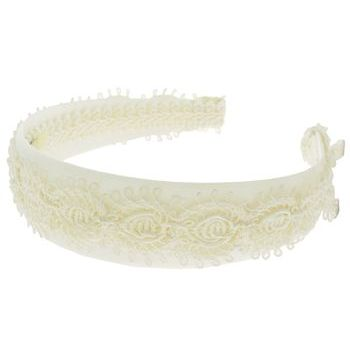 Susan Daniels - Headband - White Satin w/Ivory Braid (1)
