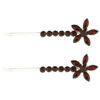 Karen Marie - Crystal Starflower Bobby Pins - Topaz (Set of 2)