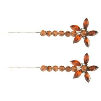 Karen Marie - Crystal Starflower Bobby Pins - Amber (Set of 2)